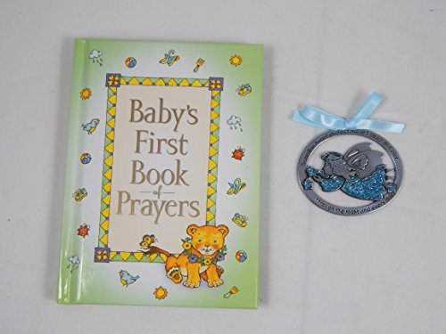 Baby's First Book of Prayers and 2 1/2X1-Inch Guardian Angel Crib Medal Blue Ribbon