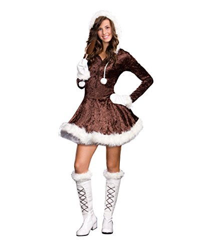 sugar-sugar-by-dg-brands-cute-furry-hooded-juniors-teen-costume-eskimo-cutie-pie-brown-large