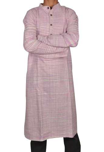 Mens Casual Cotton Khadi Long Kurta Fabric For Winter & Summers Size 4XL