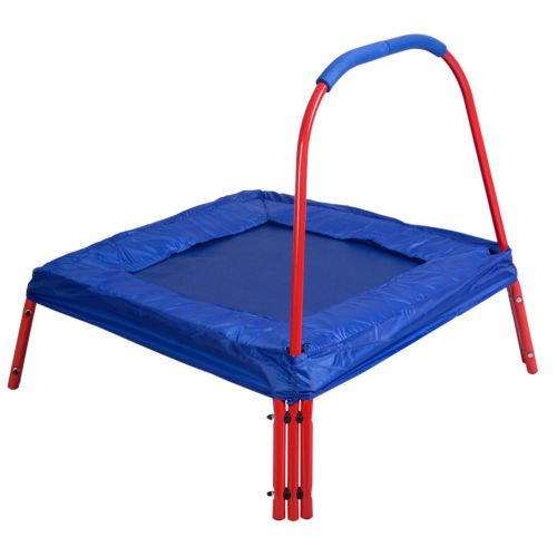 Blue-Square-Jumping-Trampoline-3-x-3-FT-Kids-w-Handle-Bar-and-Safety-Pad