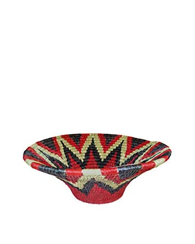 Asian Loft Small Red Hand-Woven Lutindzi Grass Wicker Bowl, Red/Black/White