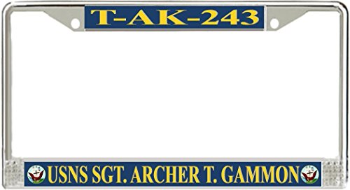 usns-sgt-archer-t-gammon-t-ak-243-metal-license-plate-frame-holder-kit-car-auto-with-screw-cap-cover