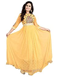 BK ENTERPRISE Women's Yellow Net Attractive Gown(bk-5002_freesize)