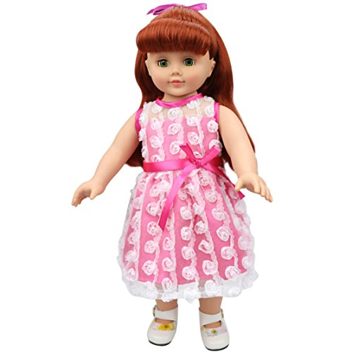 [HappyBB Baby Doll Clothes Skirt Fits 16 inches American Girl Doll - Lace Rose Ladies Skirt] (2pc Child Cheerleader Costumes)