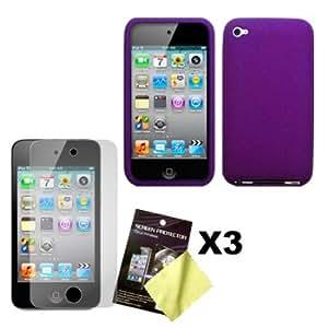 Lila Silikon Hülle Schutzhülle Tasche Case & Displayschutzfolie Folie x3 für Apple iPod Touch 4G