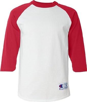Champion Raglan Baseball T-Shirt - Small, White/Scarlet