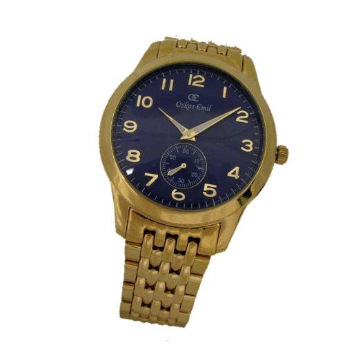 Oskar Emil - Reloj de mujer de cuarzo, correa de acero inoxidable color azul claro