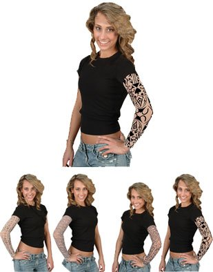 Mens Womens Pirates Costume Accessory Arm Sleeve Tattoo Features