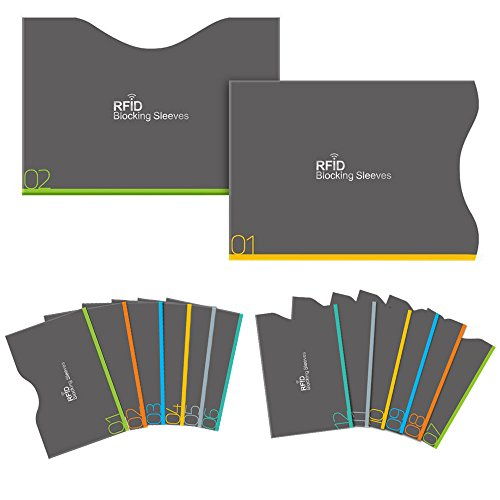 Aerb RFID Blocking Sleeves 12 Credit Cards 2 Passports Holders for Identity Theft Protection, Set of 14 (Rfid Container compare prices)