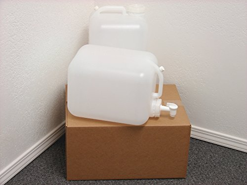 5 Gallon Carboy, 2 Pack (10 Gallons), Emergency Water Storage Kit - New! - Clean! - Boxed! - Free Spigot! (Jugs With Spigots compare prices)
