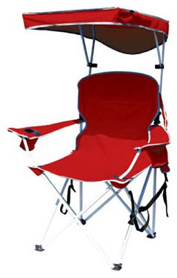 Bravo Sports 149578 Four Seasons Courtyard Shade Chair with Canopy and Carry Case, Red Polyester