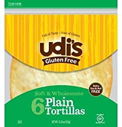 Udi\'s Plain Tortillas, 11.2 Ounce (Pack of 10)