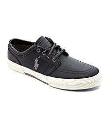 Men's Polo Ralph Lauren Faxon Low Leather (Black/Grey)