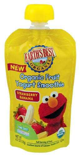 Earth's Best Organic Fruit Yogurt Smoothie, Strawberry Banana, 4.2-Ounce Pouches (Pack of 12)