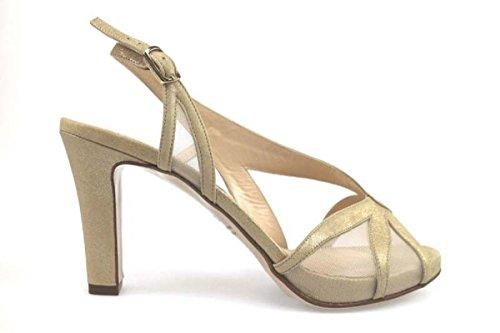 scarpe donna GUIDO SGARIGLIA sandali beige camoscio tessuto AP796 (38,5 EU)