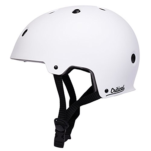 Critical Cycles Classic Commuter Bike/Skate/Multi-Sport CM-2 Helmet with 10 Vents, Matte White, Medium: 55-59 cm / 21.75