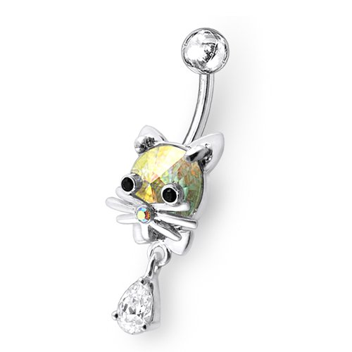 PiercingWorld Rainbow gem 14 G 3 / 8-inch ( 1.6 x 10 MM ) 316 L surgical steel banana belly ring Jewelry Sterling Silver dangling Kitty.