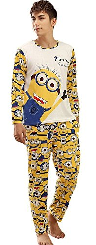 Dachou Coppie Minion Pajama Set Uomini e Donne Sleepwear Carino pet (XXL, Men)
