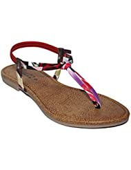 Halzz Women's Brown And Red Faux Leather Sandals