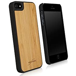BoxWave True Bamboo Minimus Apple iPhone 5 Case, Genuine Bamboo Wood Backing Shell Case Cover with Durable Plastic Edges with Smooth Matte Finish (Jet Black)