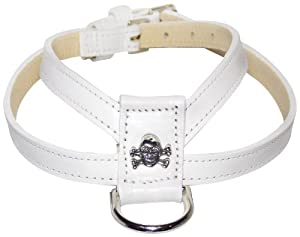 Poochee Designs Dog Harness with Large Skull Rivet, XS, White, Leather