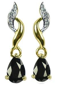 Boucles d'Oreilles Pendantes - Femme - Or jaune (9 cts) 0.94 Gr - Saphir - Diamant