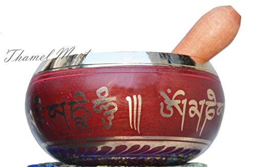 4 Inch Meditation Om Mani Padme Hum Peace Wooden Striker & Cushion