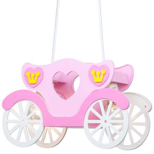 Kids ceiling light pendant lamp 2x LEDs 6W pink girls princess carriage Globo 15724 + LED