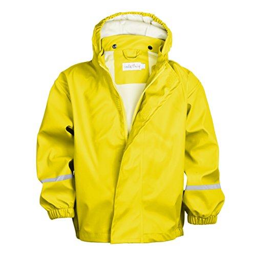 smileBaby wasserdichte Kinder Regenjacke Regenmantel mit abnehmbarer Kapuze Unisex in Gelb -