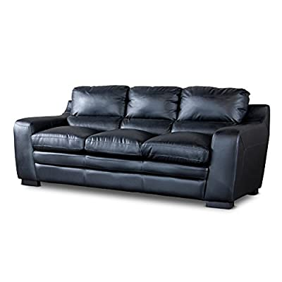 Baxton Studio Diplomat Modern Black Leather Sofa