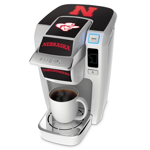 Keurig K10 White Mini Plus Single Cup Personal Brewer With University Of Nebraska Decal Kit front-592737