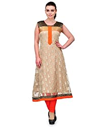 Awesome Fab Beige Color Cotton Fabric Women's Straight Kurti