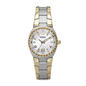 Fossil Women's AM4183 Two-Tone Quartz Mother-of-Pearl Dial Watch
