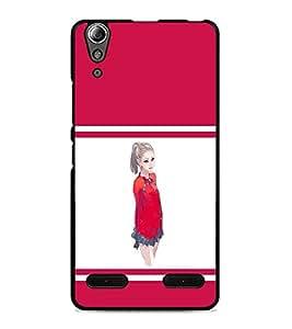 PrintDhaba Cute Girl D-1403 Back Case Cover for LENOVO A6000 (Multi-Coloured)
