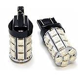T20 LED ダブル レッド 赤 テールランプ ブレーキランプ ハイパワー27連SMD (ダブル球 ウェッジ球) LEDバルブ2個セット