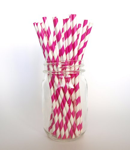 Fuchsia Striped Paper Dessert Straws - 25 Pack - Great For Iced Teas, Lemonades, And Limeades front-886305