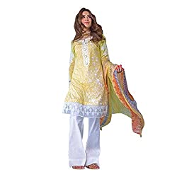 Pulp Mango Media's Latest Arrival of Pakistani Style Collection of Cotton Satin Print with lovely Embroidered, Yellow Unstitched Dress Materials.