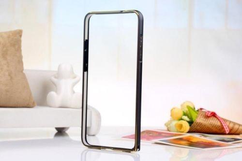 Exclusive Aluminium Metal Screwless Dual Tone Bumper Frame Case Cover For HTC Desire 526G+ 526 G Plus Dual Sim - Black With Goldenlinig