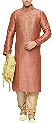 Indian Poshakh Mens Silk Sherwani (1177_40, 40, Orange and Beige)