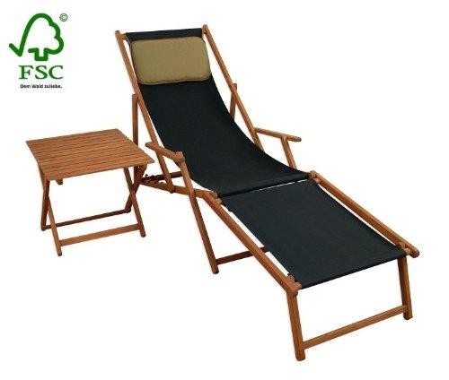 Sonnenliege Gartenliege Deckchair Saunaliege inkl. abnehmbarem Fußteil und Kopfstütze + Tisch