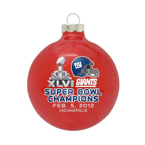"New York Giants NFL ""SUPER BOWL XLVI CHAMPIONS"" Traditional 2 3/4″ Glass Christmas Ornament-Red"