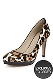 Autograph Leather Animal Print Platform Court Shoes with Insolia®