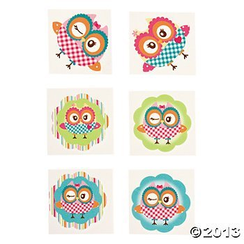 Owl Party Temporary Tattoos - 72 pcs