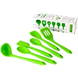 Dishwasher Safe Silicone Kitchen Utensil Set. 6 Piece Heat Resistant Set Includes Spatula, Ladle, Slotted Spoon, Mixing Spoon, Spoonula, Turner. Durable Kitchen Tools By Dutis