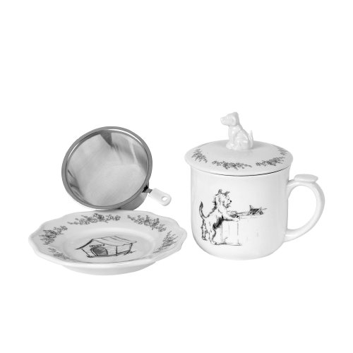 Creative Co-Op Stoneware Tea Strainer Mug With Saucer And Dog Lid, 5.5-Inch