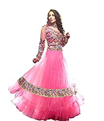 Akantik's Women's Net Unstitched Anarkali Dress Material (AK-125_Pink_Free Size)