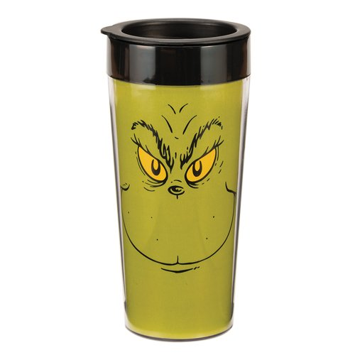 Vandor 53281 Dr. Seuss Grinch 16 Oz Plastic Travel Mug, Green, Red, And Black