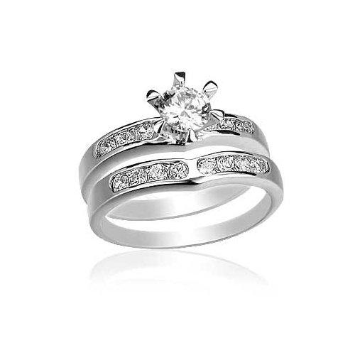 Round Cut Center Stone CZ Wedding Ring Set - White Gold Filled CZ Wedding Rings Set by GemGem Jewelry