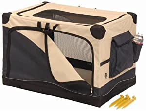 Precision Pet Soft Side Pet Crate4000 36 in. x 24 in. x 23 in. Navy Tan