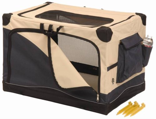 Precision Pet Soft Side Pet Crate2000 24 In. X 18 In. X 17 In. Navy Tan front-905264